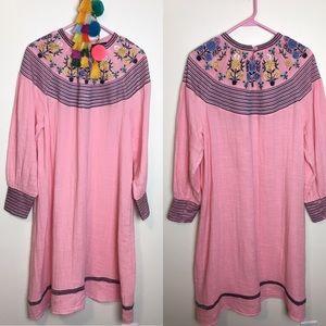 Antik Batik Pink Embroidered Dress